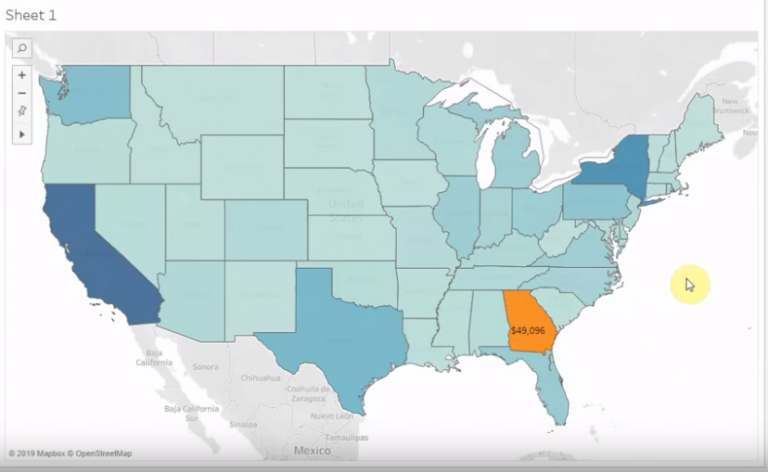 usa map data visualisation using Tableau