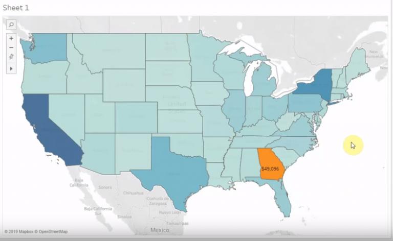 usa map data visualisation using Tableau