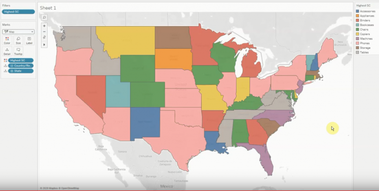 Colored Map By Dimension using Tableau Software